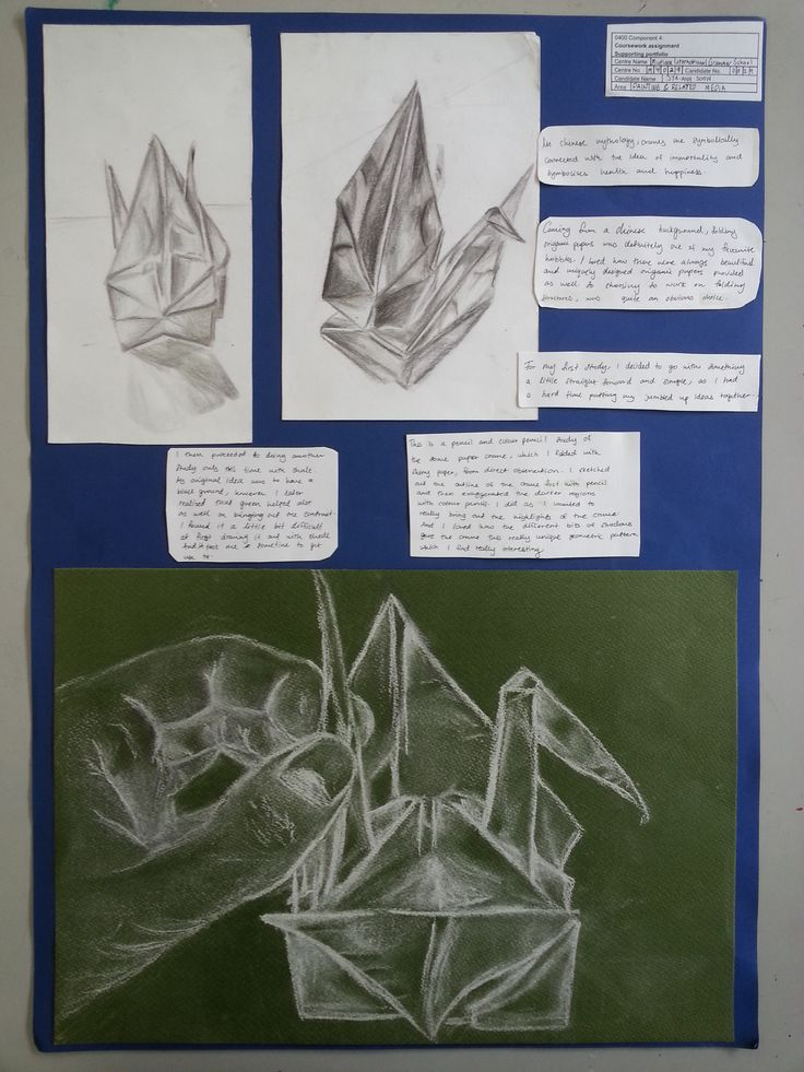 Folded by Jya Ann Soon. Her coursework project looked at paper cranes. The first page features chalk and pencil observational studies of paper cranes
