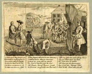 The impact of Pontiac's War and the Paxton Boys led to less public support of the Quaker Party. This satirical political cartoon by Henry Dawkins in 1764 depicts prominent Quaker Israel Pemberton dancing with a Native American and Benjamin Franklin scheming to control the Quaker Party for his own political gain. (Historical Society of Pennsylvania)
