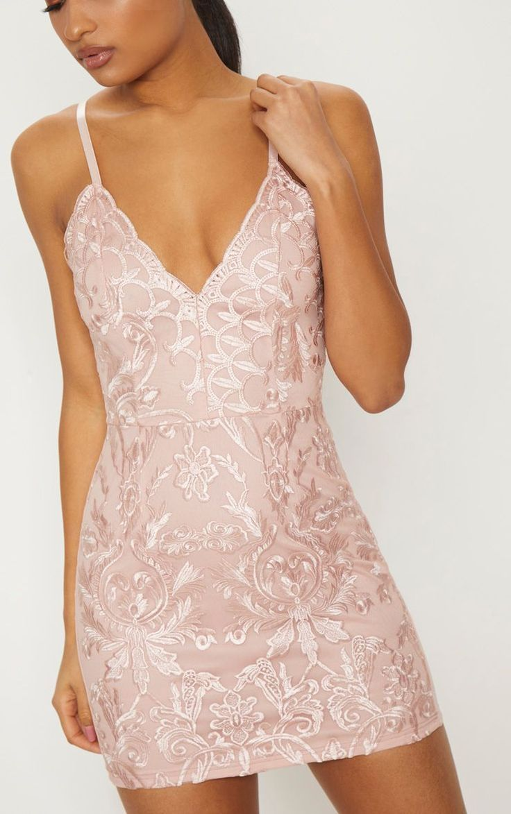 Dusty Pink Embroidered Lace Detail Plunge Bodycon Dress #design