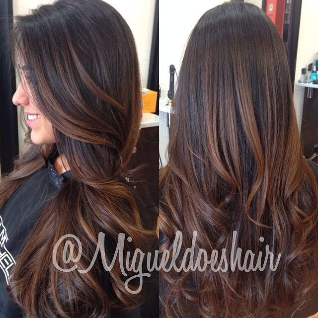 Beautiful #brown #balayage on dark hair.#ombre #highlights