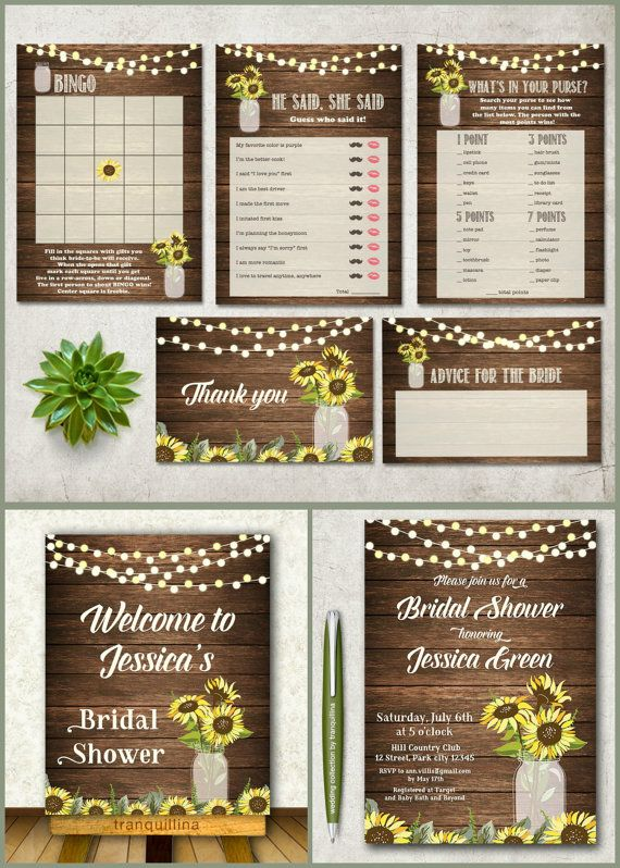 Printable Bridal Shower Games Set,  Rustic Sunflower Bridal Games, DIY Bridal Shower, Wedding Ideas. Mason Jar Shower Games. For more matching signs, wedding invitation and other cards check the link: tranquillina.etsy.com