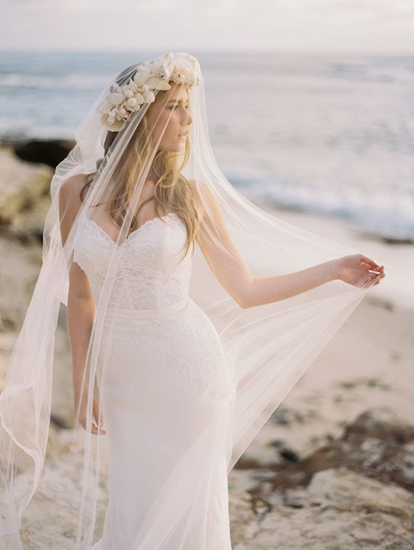 Veiled Beach Bride with a Shell Crown | Katie Grant Photography | Of the Ocean - An Elegant Bohemian Beach Bride Editorial