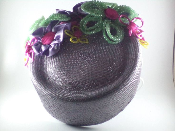 Purple parisial pillbox with beaded and satin flowers by MillinerybyMelissa on Etsy
