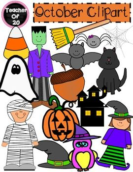 This 15 piece clipart pack includes the following in vibrant colors: an acorn,a bat, a broom, a candy corn, a cat, a Frankenstein, a ghost, a witch hat, a haunted house, an owl, a pumpkin, a mummy, a witch, a spider, and a spider web . It also includes black and white versions of the following images: an acorn, a bat, a broom, a candy corn, a cat, a Frankenstein, a witch hat, a haunted house, a pumpkin, a mummy, an owl, a spider, and a witch.