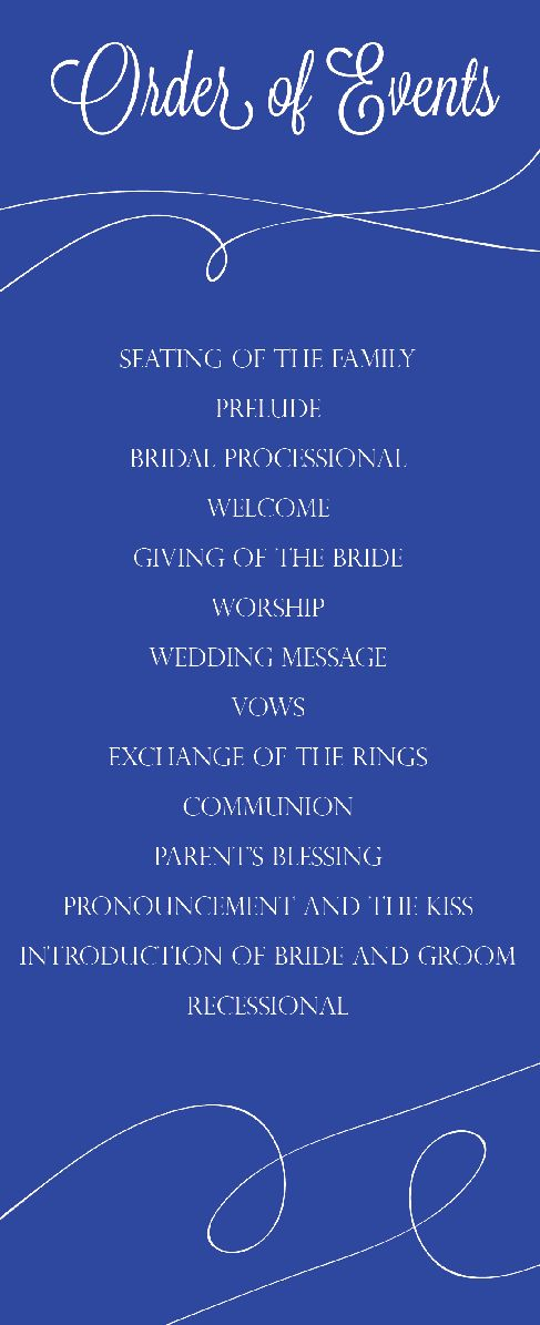 Order of Events for Ceremony, the back had the wedding party names. #weddings