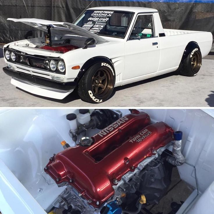 Datsun truck Tuesday. You all know we had to mention @dnicle. His built SR20 Datsun 1200. This is pure beauty. Congratulations to you and what you have accomplished at SEMA. We are all curious to see what the future holds for you sir. #Datsun #datsuntruck #datsungarage #datsun1209 #sr20 #s14 #sema2015 #classictruck #jdm #volkracing #toyotires #chasingjs #te37v #sunnytruck