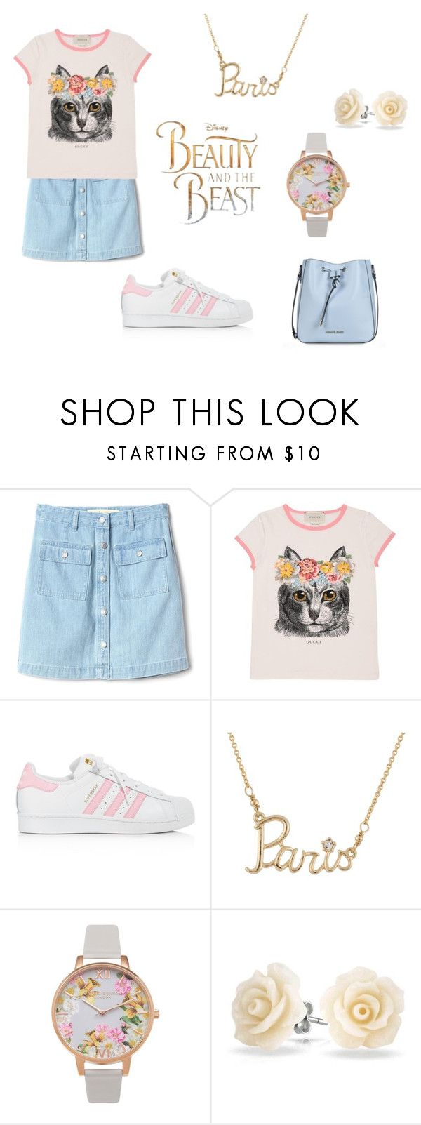 """""""Pastel Snow White"""" by blue-cookies on Polyvore featuring Gap, Gucci, Disney, adidas, Les Néréides, Olivia Burton, Bling Jewelry and Armani Jeans"""