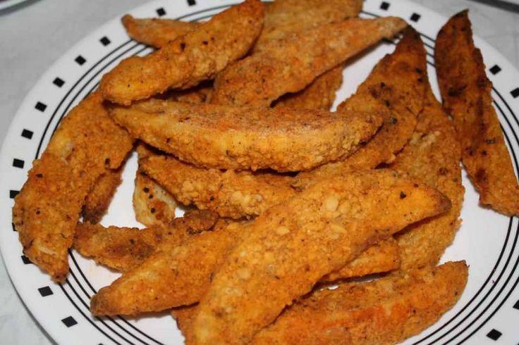 Ingredients :   Shortening (for frying)   5 baking potatoes, cut into wedges  1 cup milk  1 egg  1 cup flour  2 tablespoons salt  1 teaspo...
