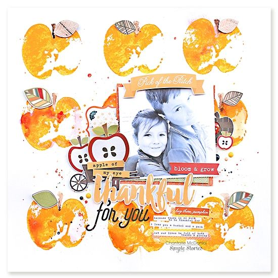 Layout from creative team member Chantalle McDaniel using our Hello Fall collection and actual apples to stamp with!