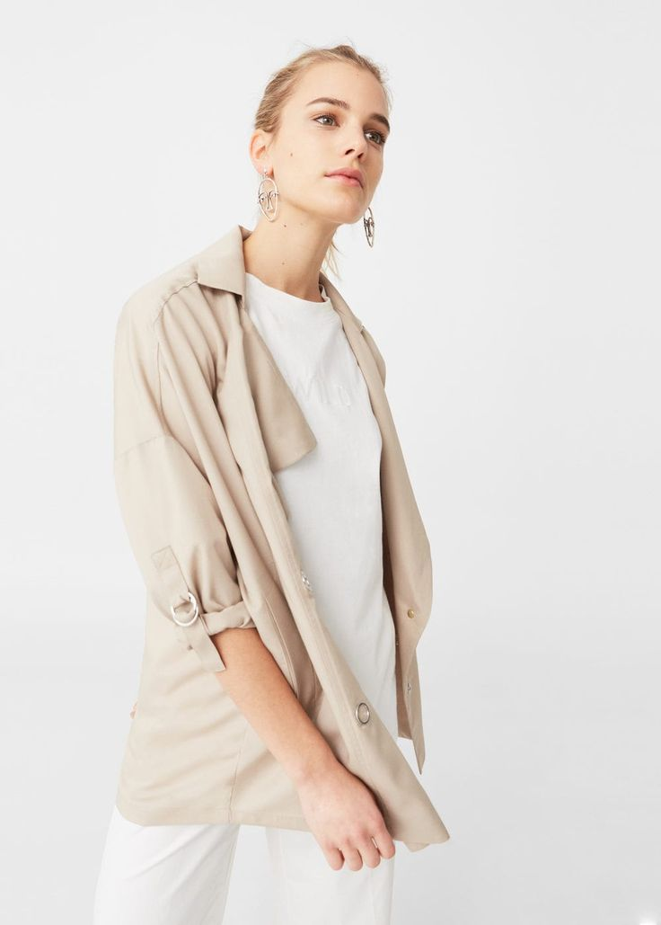 Trencz z tkaniny soft | MANGO