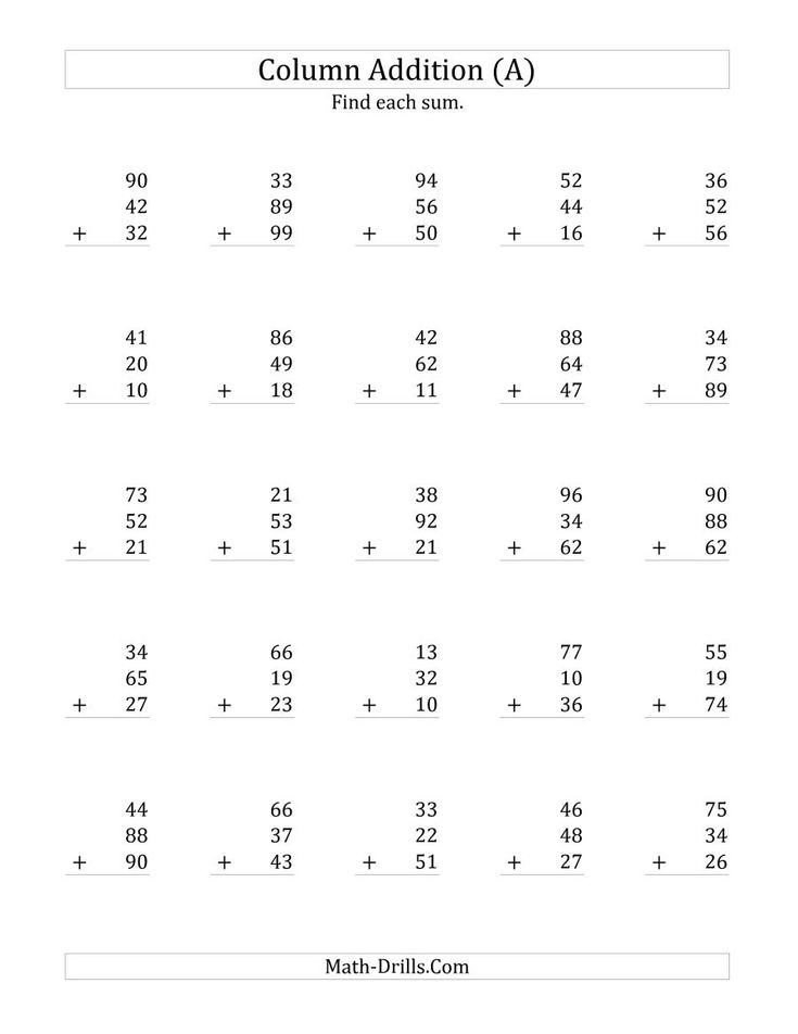 The Adding Three Two-Digit Numbers (A) Math Worksheet from ...