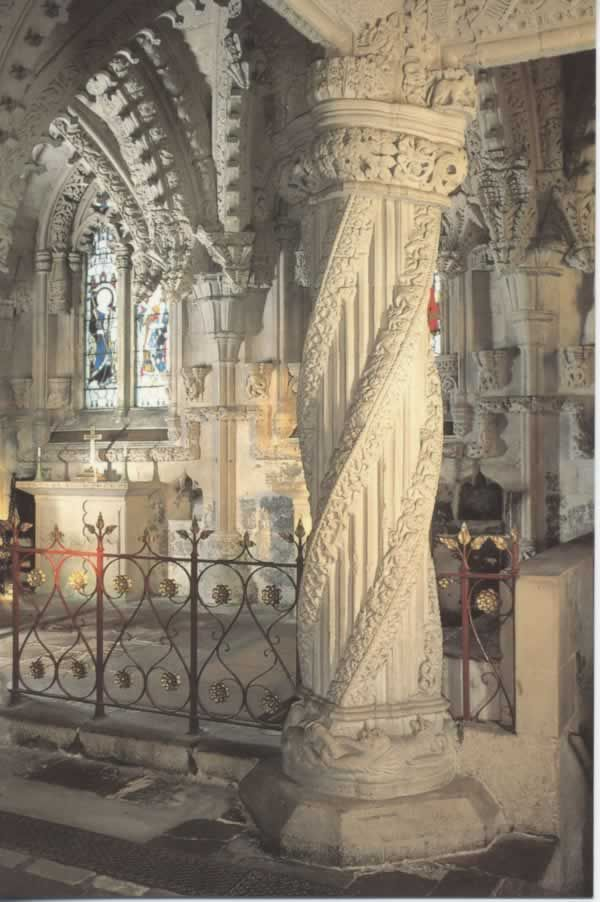 Rosslyn Chapel, midlothian, Scotland.  The Apprentice Pillar is the most elaborately decorated pillar in the Chapel. An apprentice mason is said to have carved the pillar, inspired by a dream, in his master's absence. On seeing the magnificent achievement on his return, the master mason flew into a jealous rage and struck the apprentice, killing him outright.