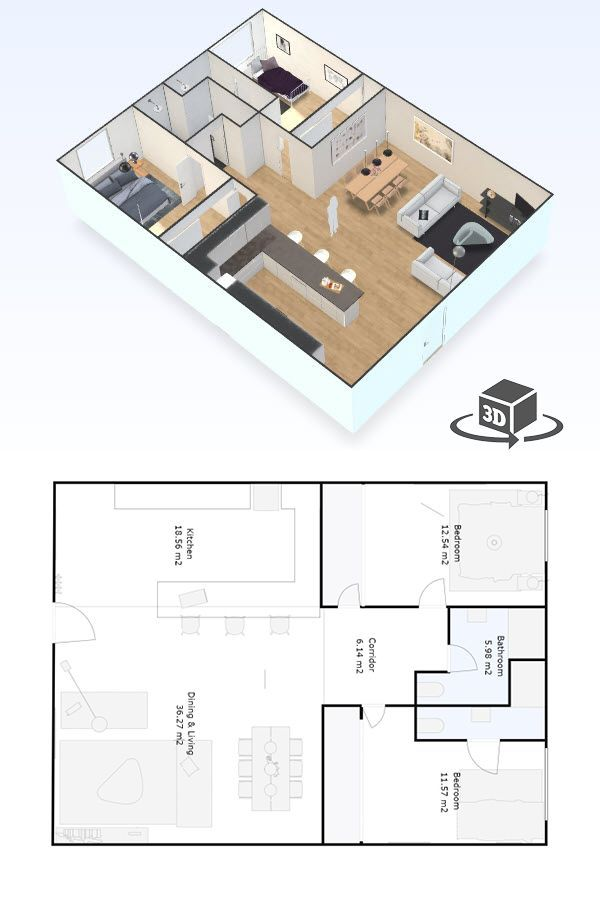2 Bedroom Apartment Floor Plan In Interactive 3d Get Your Own 3d Model Today At H Condo Floor Plans Penthouse Apartment Floor Plan Small Apartment Floor Plans