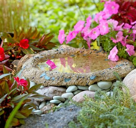 Hypertufa free form birdbath. More birdbath ideas: http://www.midwestliving.com/garden/ideas/birdbaths-to-enhance-your-landscape/page/2/0#