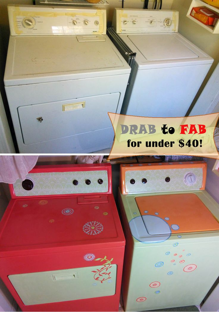 Repainted washer & dryer in laundry nook. Painted with interior paint & stencils for under $40!