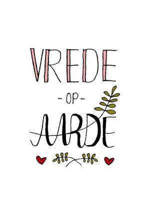Dutch Christmas card Vrede op Aarde with #handlettering #typography | design: Hilde Reurink