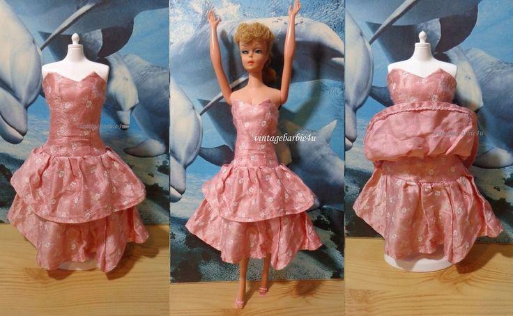 Dress Strapless Pink White Flower Print / Vintage Barbie Doll Uneeda Suzette sz #ClothingAccessories