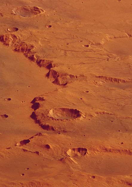 Perspective view of rim of Crater Huygens, looking north Mars Express, ESA #space #planet #mars