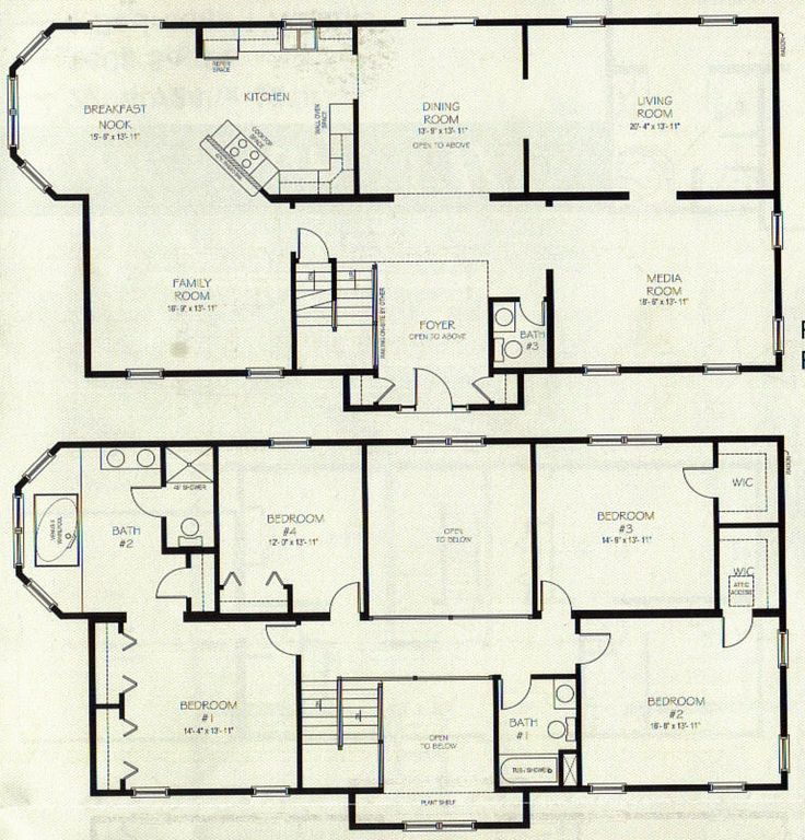 Fascinating Two Story House Plans Spacious Family Room With Corner Kitchen