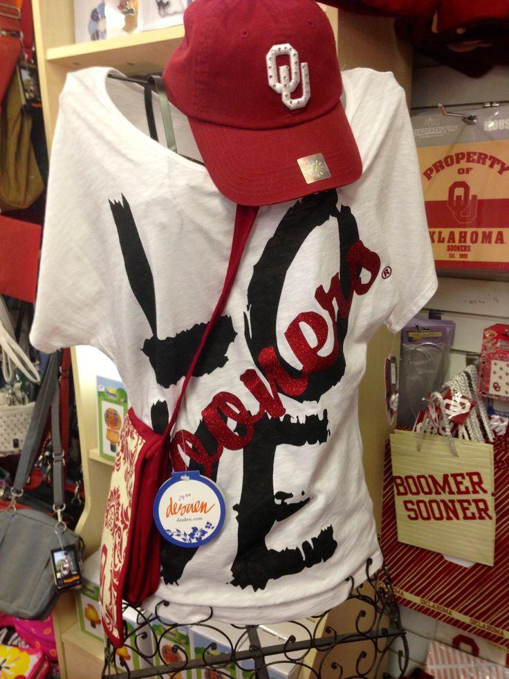 -LOVE SOONERS wide neck tshirt  -Crystal studded OU baseball hat -OU damask cross body bag
