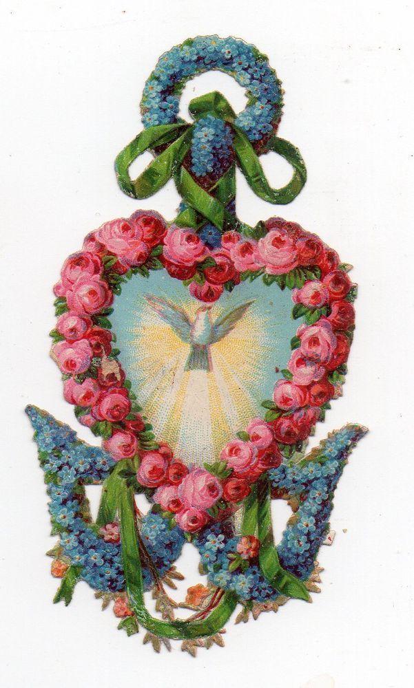 chromo découpi die cut oblaten glanzbild  Ancre & coeur Fleuri