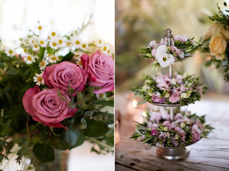 Romantic pink lysianthus, fuchsia roses, chamomile and wild greenery for your dream day :)