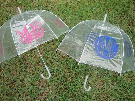 Personalized Monogram Clear Dome Umbrella by paisleynpolkadots, $15.00