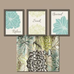 seafoam green bathroom wall art artwork flowers brown set of 3 trio prints decor relax soak