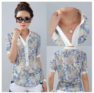 Ladies blouses femininas fashion chiffon shirt body tops floral print big size 3XL 4XL short sleeve stand collar CS9085 US $9.98