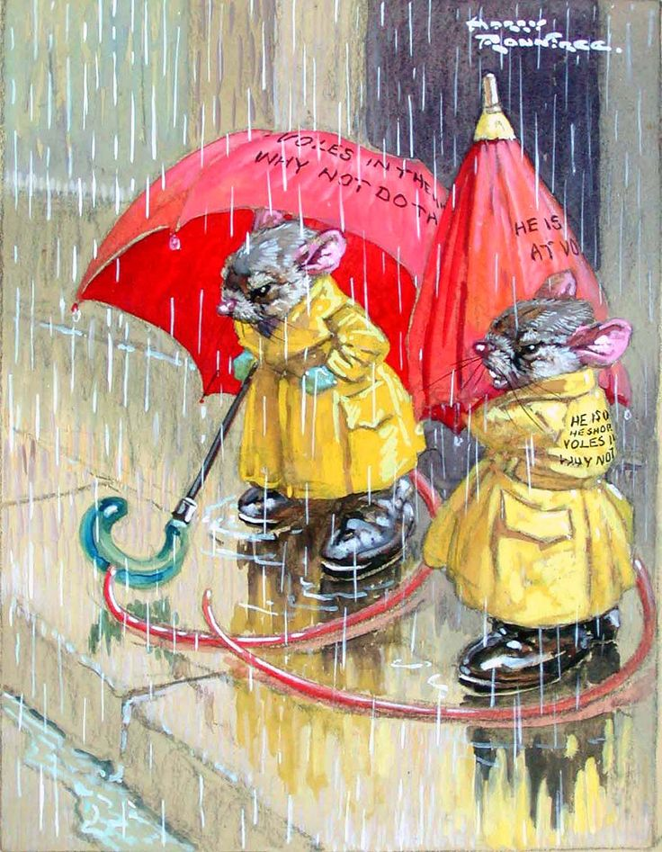 Harry Rountree mice with umbrellas