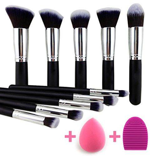 Noble Life 10 Piece Synthetic kabuki Makeup Brush kit with Blender Sponge and Brush egg  BlackSilver * Read more reviews of the product by visiting the link on the image.