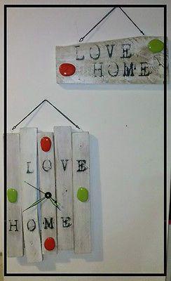 Appendichiavi e orologio da parete legno pallet LOVE HOME,shabby!made in Italy!