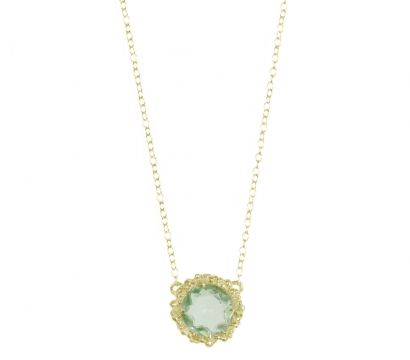 22ct gold plated Sterling Silver pendant with peppered texture and round faceted Green Amethyst drop. Other stones are available. Stone size 10mm. http://mounir.co.uk/collections/sunflower/4752_green_amethyst_chain_pendant