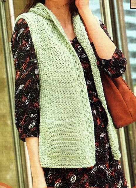 tejidos artesanales: chaleco tejido en crochet con trenzas en relieve (talle small)