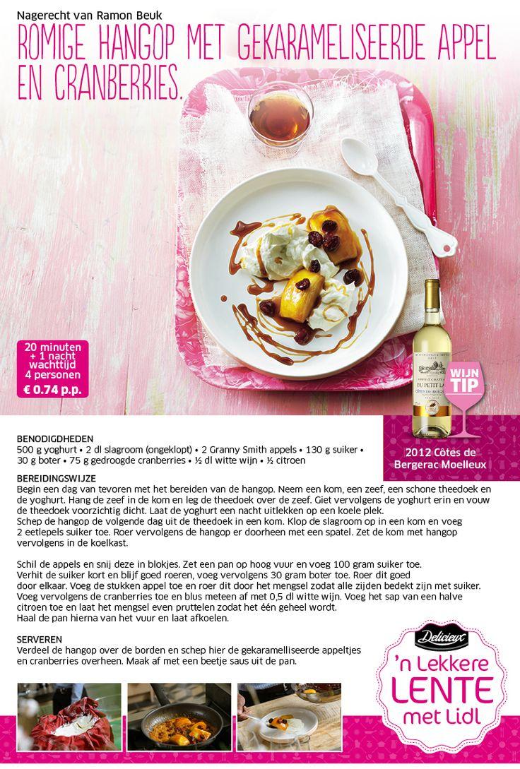 Romige hangop met gekarameliseerde appel en cranberries - Lidl Nederland