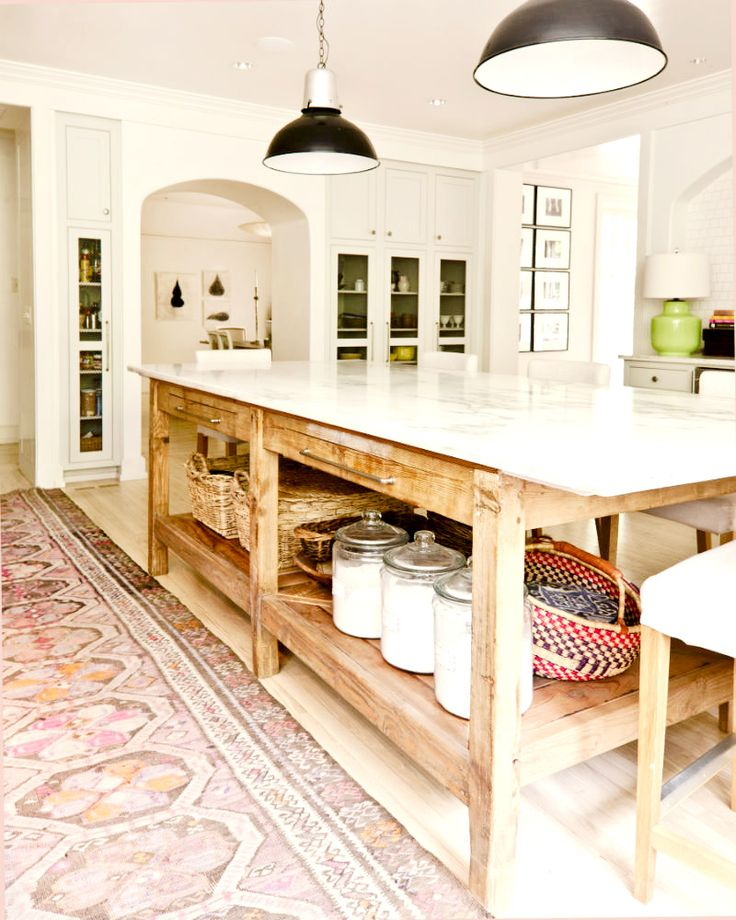Farmhouse chic kitchen with Persian rug
