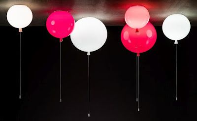 Cheerful Light: balloon shaped lights by Brokis. The light switch is the balloon string.