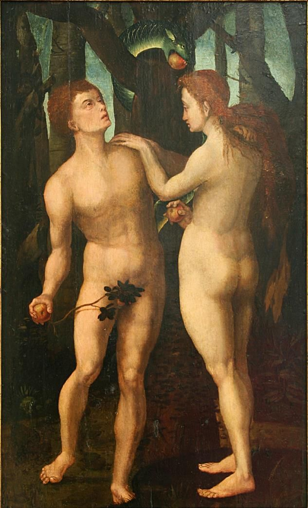 The Fall of Adam and Eve / La caída de Adán y Eva // 15th century // Anonymous / Dutch // Museo de Bellas Artes de Bilbao // #Genesis #sin