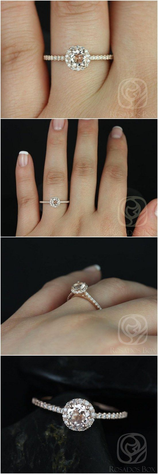 Amanda 5mm 14kt Rose Gold Round Morganite and Diamonds Halo Engagement Ring / http://www.deerpearlflowers.com/inexpensive-engagement-rings-under-1000/