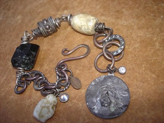 Speak No Evil - Neolithic Jade & Crude Tourmaline Sterling Silver Bracelet