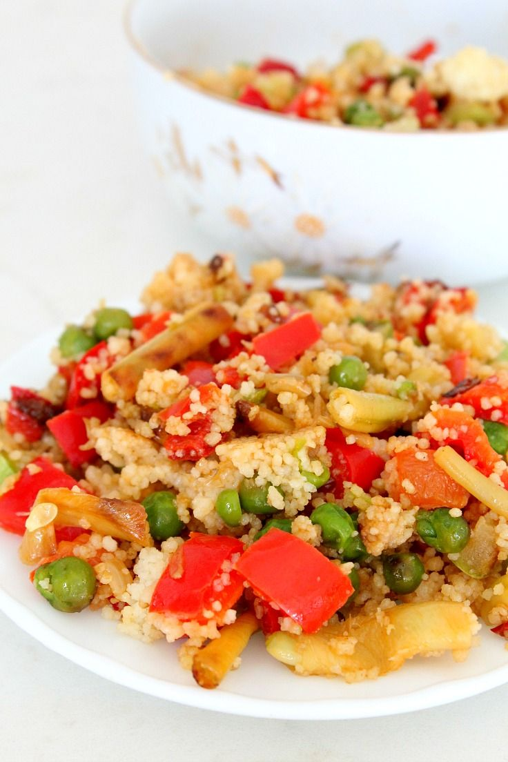 COUSCOUS AND VEGGIES SALAD - This simple vegetable couscous salad is an easy and quick way to prepare couscous for a filling and delicious vegetarian meal or a side dish.