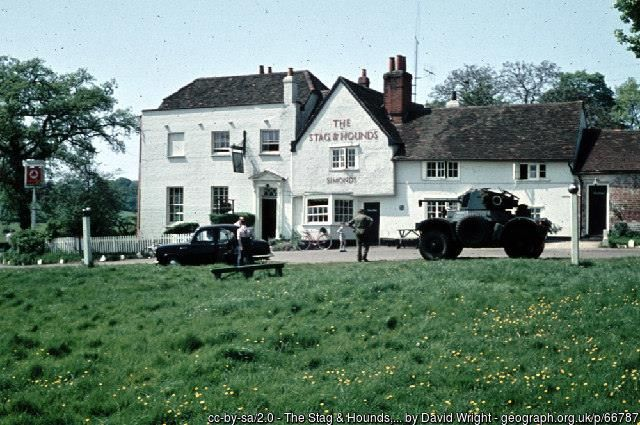 "THE STAG & HOUNDS, BINFIELD, IN 1959 Picture taken during a TA exercise in 1959. The Daimler Armoured Car is from ""C"" Squadron Westminster Dragoons (2CLY). Photo scanned from an old Agfacolor slide."