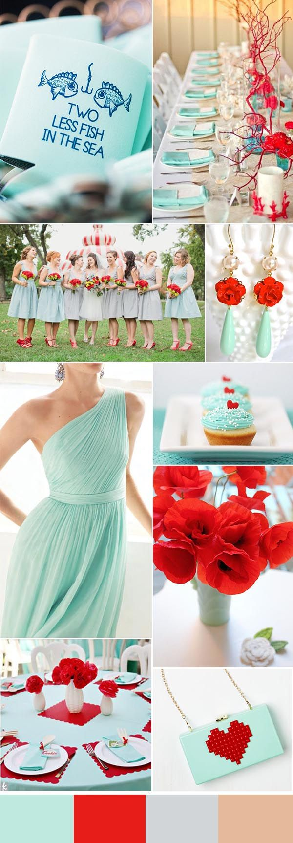 red and mint summer wedding ideas with summer wedding koozie favor