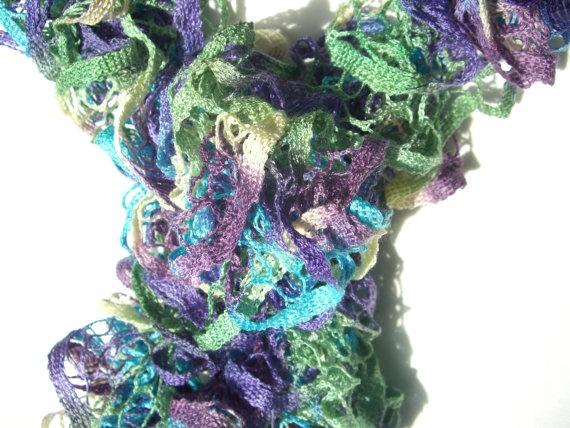 Extra Long Loopy Scarf Ladies Ruffle Handmade by KrystalzKreations, $25.00