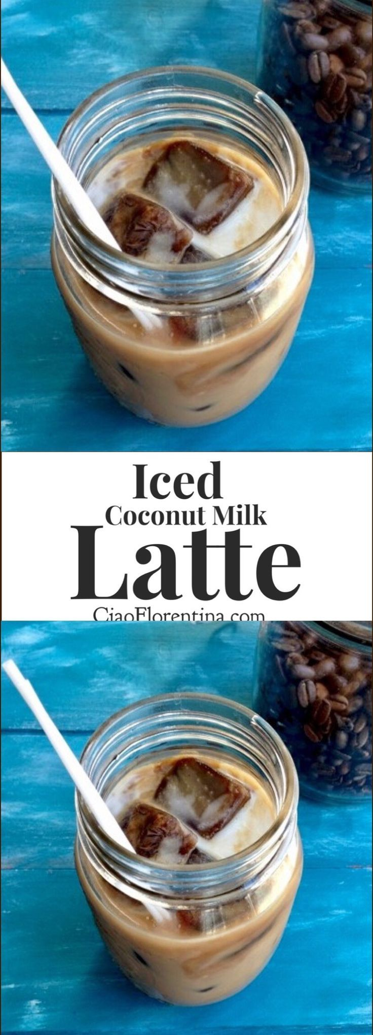 Iced Coconut Milk Latte with Honey and Espresso Ice Cubes | CiaoFlorentina.com @CiaoFlorentina