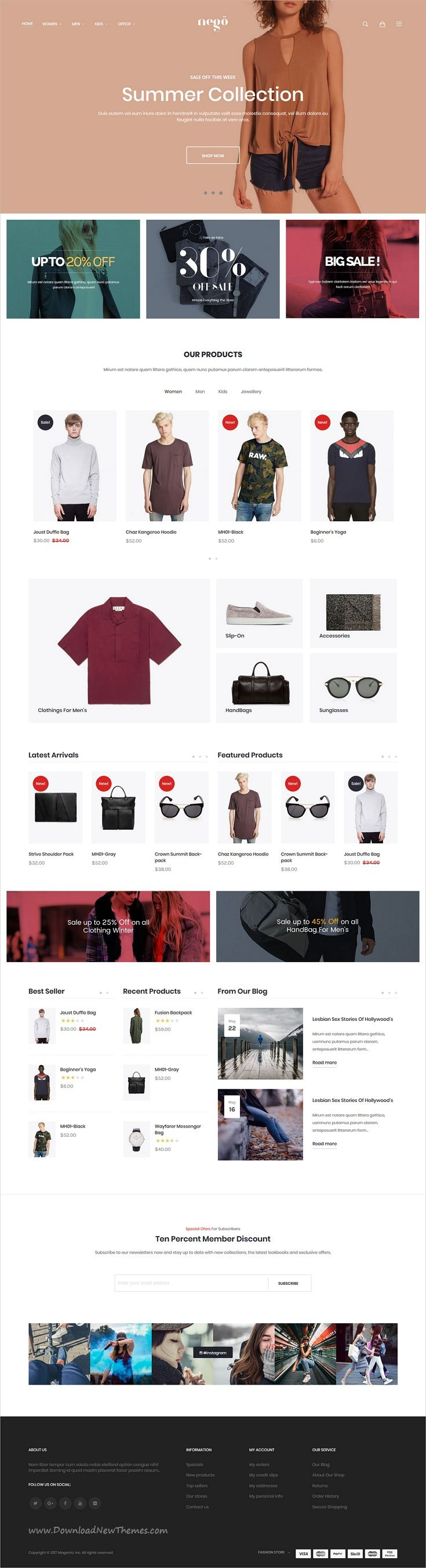 Nego is clean, minimalist and modern design responsive #Magento theme for stunning #fashion store #eCommerce website with 6 niche homepage layouts download now..