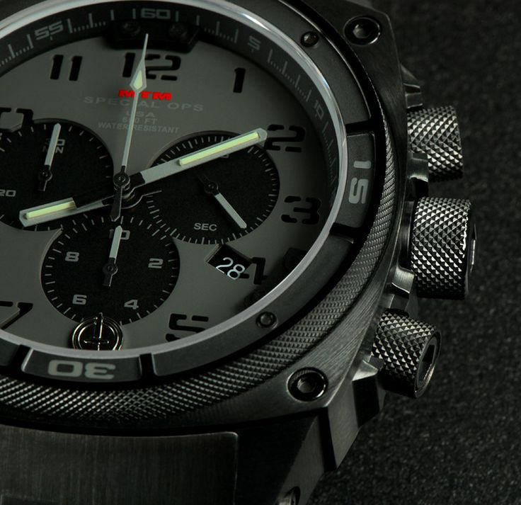 This tactical military watch for men, Black Gray Predator II, by MTM Special Ops contains a solid stainless steel or titanium watch case. View & customize.