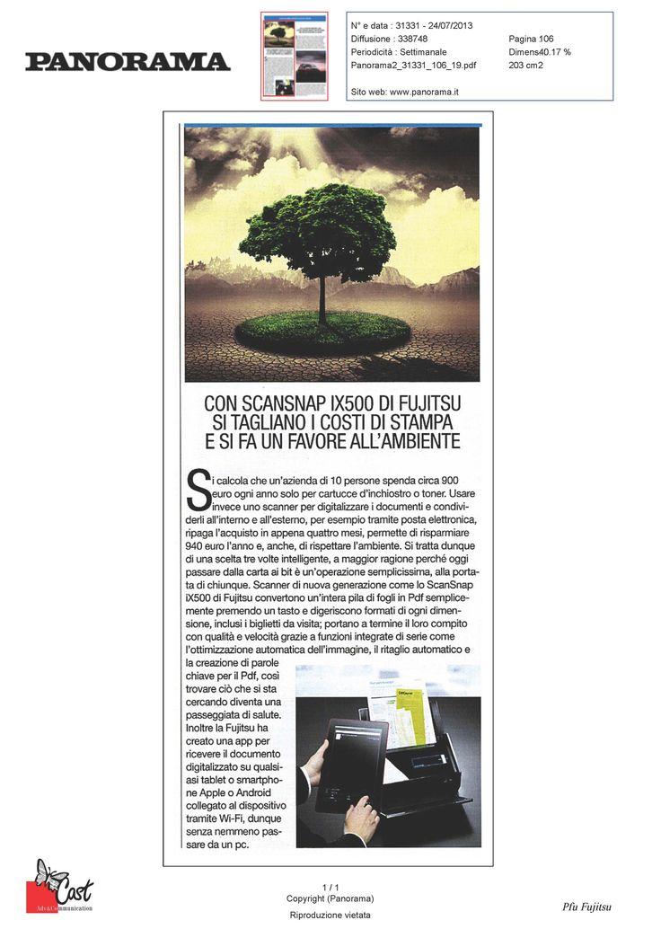 Scansnap IX500 di Fujitsu è lo scanner ecosostenibile che tagli i costi della stampa. Su Panorama del 24.07.2013