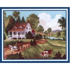 Collection D'Art 6.188 Summer Homestead with Cows Tapestry Canvas