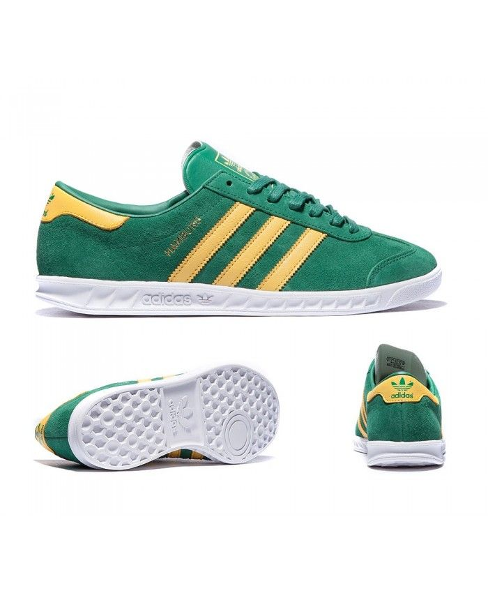 f8f082f7da4c Adidas Originals Hamburg Green Yellow And White Trainers